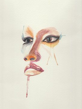 Abstrakte Aquarell von bunten Gesicht von Yvette Stevens