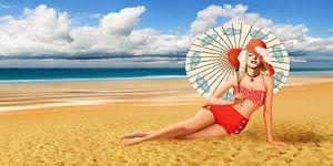 Schoonheid van de bikini op het strand
