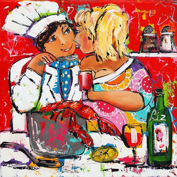 Samen koken van Vrolijk Schilderij