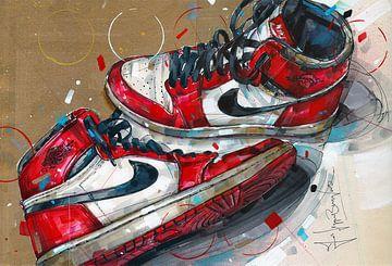 Nike Air Jordan 1 Chicago 1985 Gemälde von Jos Hoppenbrouwers