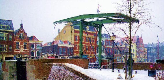 Brug Delfshaven winter 2012 van Frans Jonker
