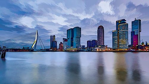 Comicbuch Rotterdam mit dem Kop van Zuid und der Erasmusbrücke