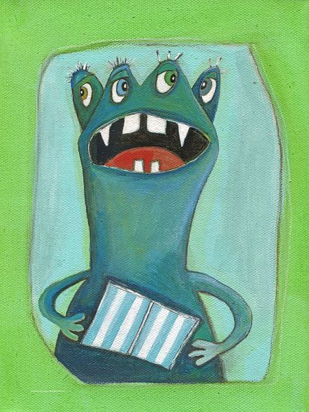 4ogen Monstertje - Schilderij voor Kinderen van Atelier BuntePunkt