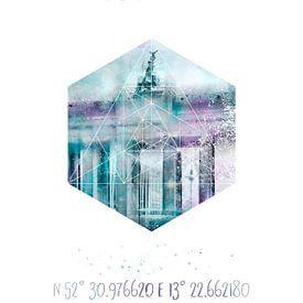 Koordinaten BERLIN Brandenburger Tor   Aquarell  von Melanie Viola