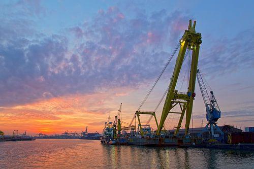 Drijvende kraan tijdens zonsondergang te Rotterdam van Anton de Zeeuw