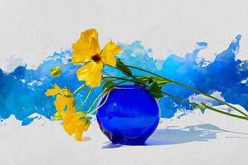 Less is More - Gele voorjaarsbloem op blauwe vaas en geschilderde lichtgrijs en blauwe achtergrond van ellenilli .