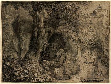Rembrandt van Rijn,  Saint François sous un arbre priant sur