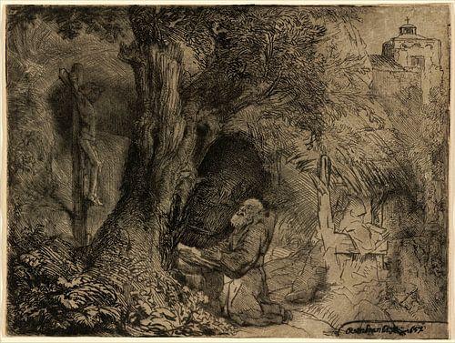 Rembrandt van Rijn,  St. Franziskus unter einem Baum von Rembrandt van Rijn