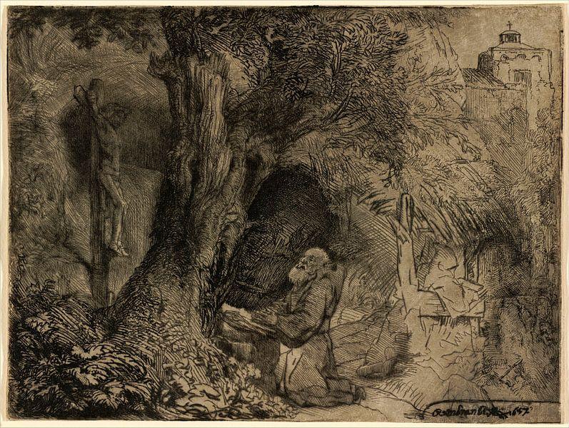 Rembrandt van Rijn,  Sint Franciscus biddend onder een Boom van Rembrandt van Rijn