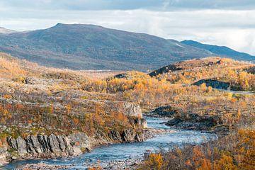 Kloof door grauw herfst landschap. van Axel Weidner