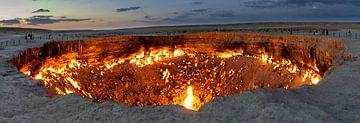 Vuurkrater Derweze in Turkmenistan van Daan Kloeg