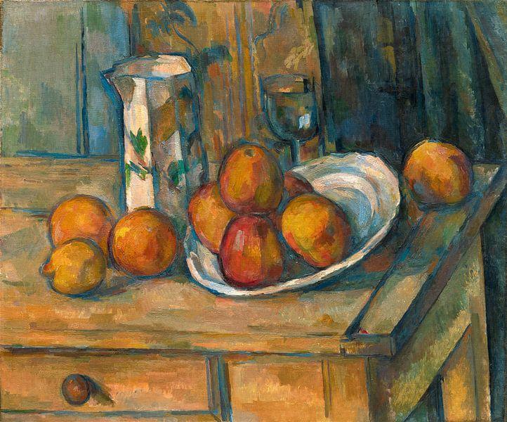 Stilleven met melkkan en Fruit, Paul Cezanne