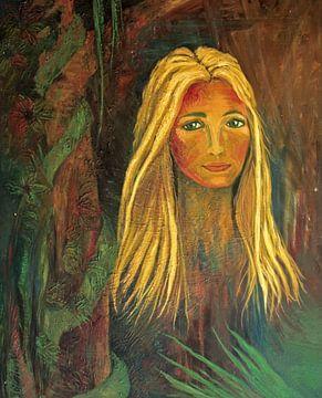 Schilderij van een jonge vrouw in het oerwoud van Nisangha Masselink