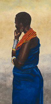 Samburu vrouw III schilderij van Russell Hinckley
