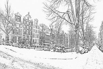 Zwart wit pencil tekening van Amsterdam in de sneeuw von Nisangha Masselink
