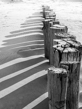 Palen op het strand van Zeeland met schaduwen van Evelien Oerlemans