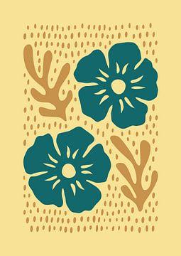 Silhouette Blumen Türkis von Rene Hamann