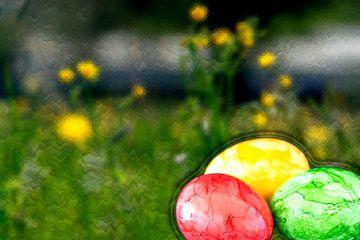 Konzept Ostern : Ostereier und Blumen von Michael Nägele