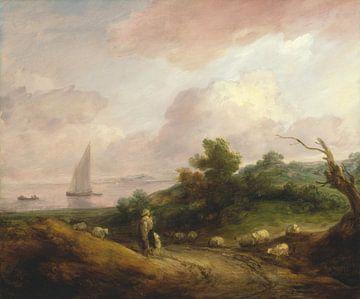 Kustlandschap met een herder en zijn kudde, Thomas Gainsborough van