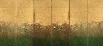 Japan, Edo-periode - herfstavond met volle maan op Musashino-vlakte van