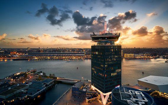 Amsterdam Icons tijdens zonsondergang van Martijn Kort