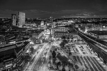 Skyline Eindhoven in zwart-wit van Mitchell van Eijk