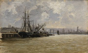 Carlos de Haes-Hafen-Kulissen, Hafenschiffe, Antike Landschaft
