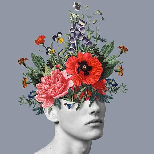 Zelfportret met bloemen 5 (blauwgrijs) van