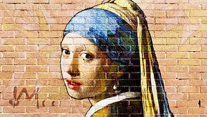 Meisje met de parel -  muurschildering graffiti licht van