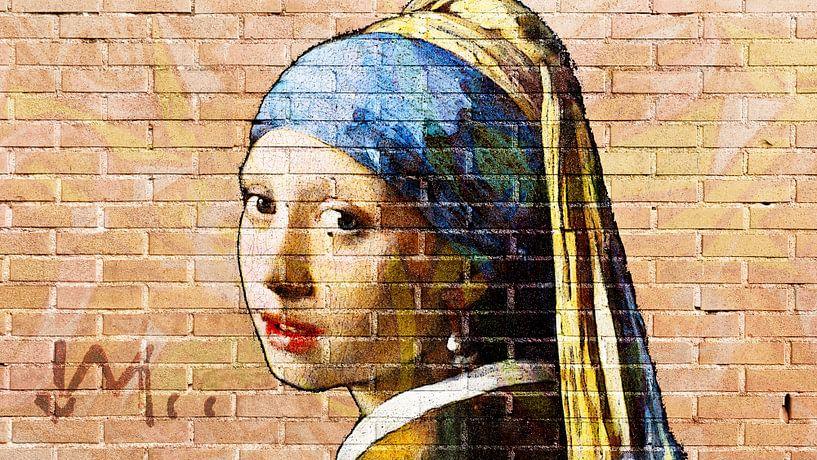 Meisje met de parel -  muurschildering graffiti licht van Lia Morcus