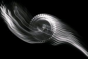 Abstrakte Kunst--Flamme-01-SCHWARZ-WEIß sur Katja Goede