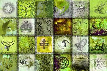 Collage in grün mit Zeichen und Symbolen von Rietje Bulthuis