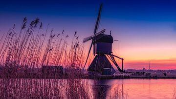 Kinderdijk lonely mill sur Michael van der Burg