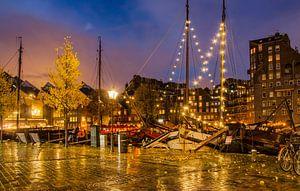 De Oude Haven in de regen van Frans Blok