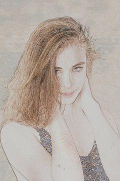 Jonge vrouw in pentekening van Alice Berkien-van Mil