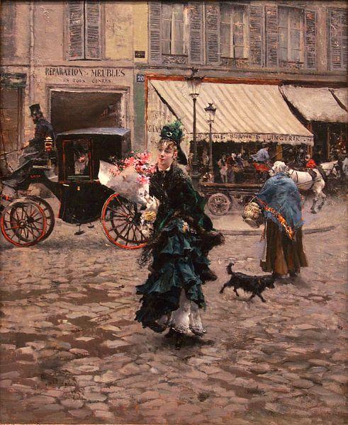 schilderij Crossing the Street  -  oude meester schilderij van lieve maréchal