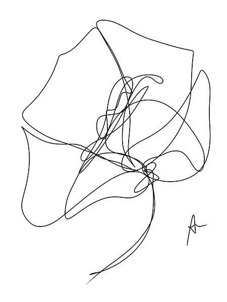 One line drawing Klaproos (gezien bij vtwonen) van Ankie Kooi