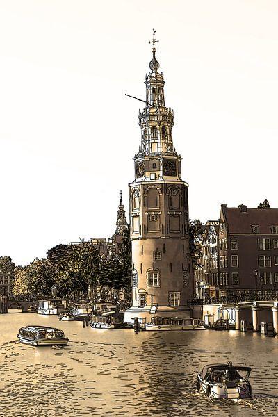 PentekeningAmstel Montelbaanstoren Amsterdam Nederland Tekening Lijntekening Sepia van Hendrik-Jan Kornelis