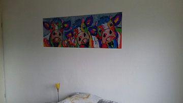 Kundenfoto: Drei Kühe blaugrau von Vrolijk Schilderij