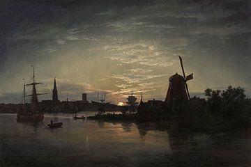 Swinoujscie im Mondlicht, Johan Christian Dahl
