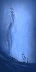 Hoop in blauw met vrouwelijk silhouet