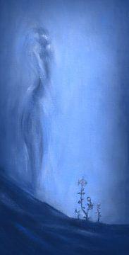 Hoffnung in Blau mit weiblicher Silhouette von David Morales Izquierdo
