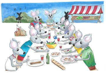 Grote groep muizen eet gezamenlijk aan lange tafel buiten van Ivonne Wierink