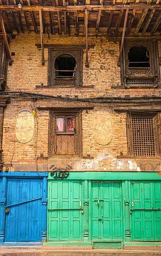 Voorgevel van een oud gebouw in Patan, Nepal