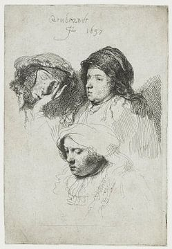 Drei Frauenköpfe: einer schläft, Rembrandt van Rijn
