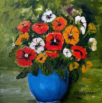 Violettes en Vase Blue sur Rita Tielemans