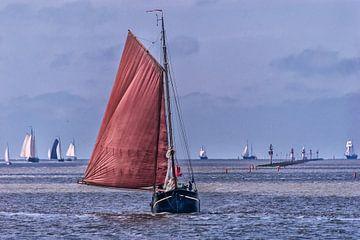 Historische zeilschepen op t Wad nabij de haven van Harlingen van