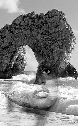 against the sea. Double exposure portrait van Dreamy Faces