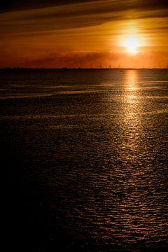 Sonnenuntergang auf der Elbe von Andreas Müller