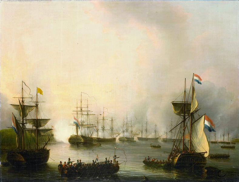 Das Bombardement von Palembang, Sumatra, 24. Juni 1821, Martinus Schouman von Meesterlijcke Meesters